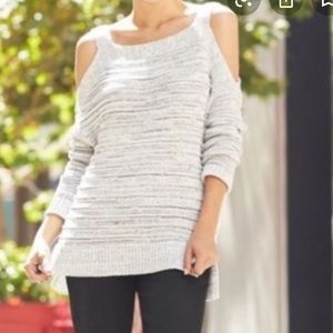 Pixley Gray Cold Shoulder Knit Sweater - M